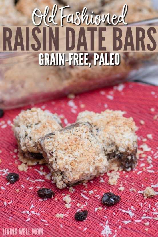 Old Fashioned Raisin Date Bars made Paleo style! This family favorite classic recipe is oh-so-good with a chewy date center and coconut flake almond flour crust and topping. You'll never guess it's grain free, dairy free, and refined sugar free!
