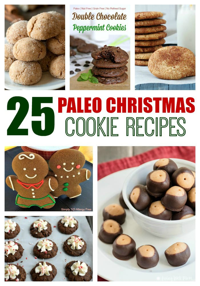Eating healthy doesn't mean you have to give up Christmas cookies! Here's 25+ Paleo Christmas cookie recipes, from Paleo Buckeyes to Snickerdoodles, Gingerbread Men, and even Cut-out Cookies!