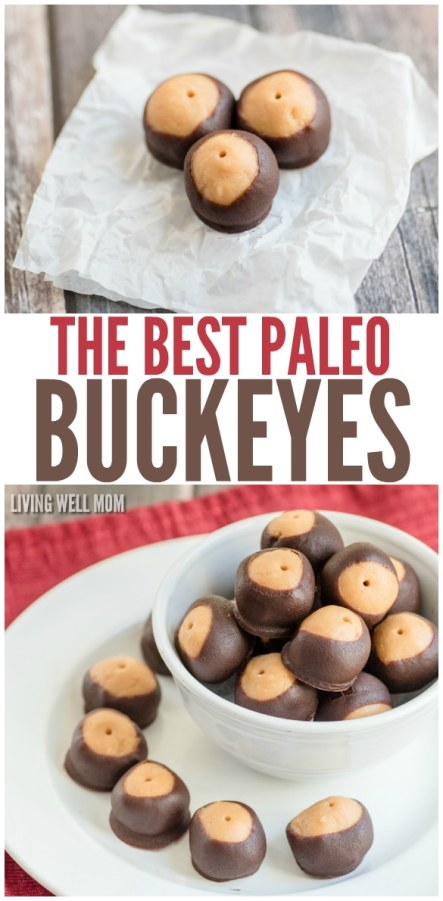 The Best Paleo Buckeyes - a healthier take on your favorite chocolate covered peanut butter ball, this Paleo recipe is grain-free, gluten-free, dairy-free, refined-sugar-free, and so delicious, they'll disappear just as quickly as the original version.