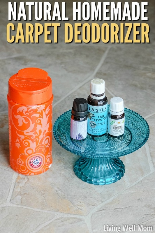 Do your carpets need a little freshening? Ditch the expensive chemical-laden stuff from the store and try this super-easy homemade carpet deodorizer! The easy 3-4 ingredient recipe is all-natural and really works!