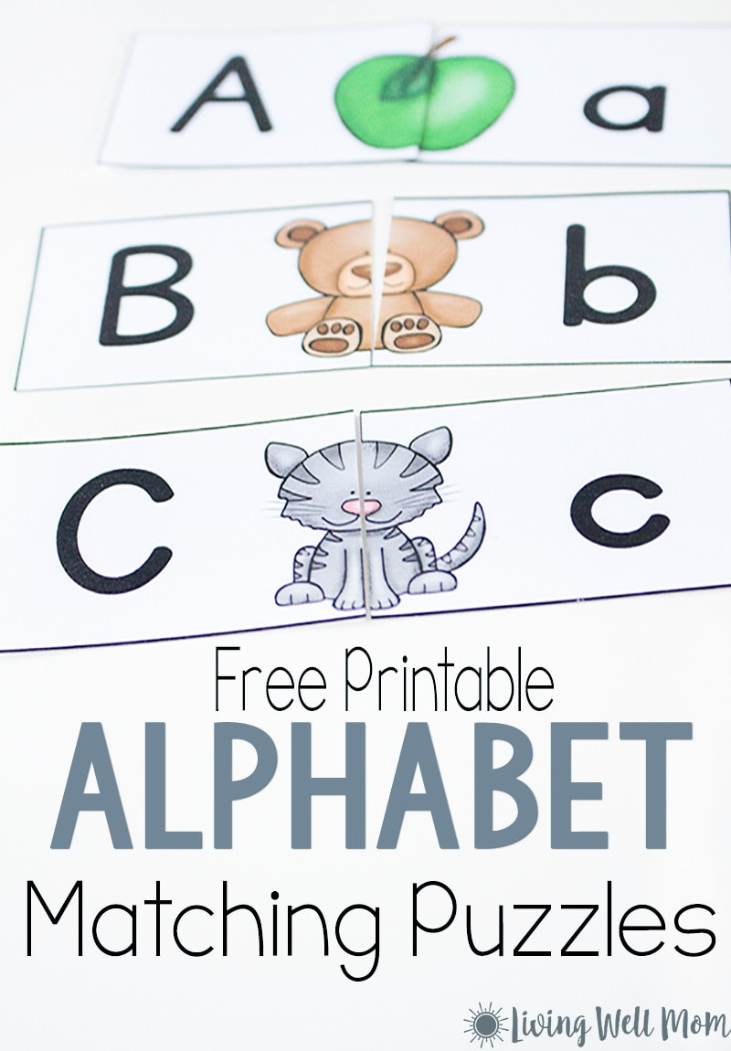 picture regarding Printable Puzzles for Preschoolers called Uppercase Lowercase Letter Matching Puzzle for Preschoolers