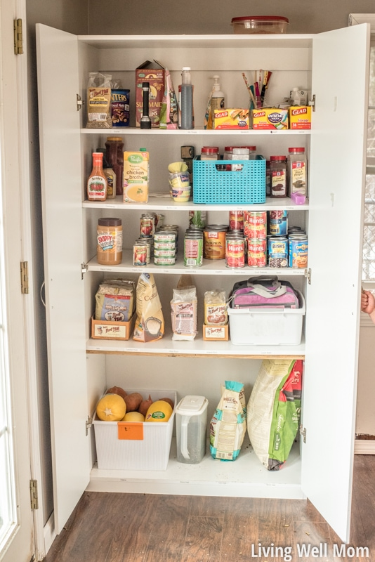 Tired of that messy pantry? Save time and money with this simple practical tip for organizing your pantry that really works. It's so easy, you'll be able to keep it organized even with kids!