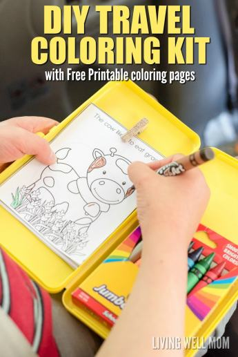 diy travel coloring kit for kids on road trips