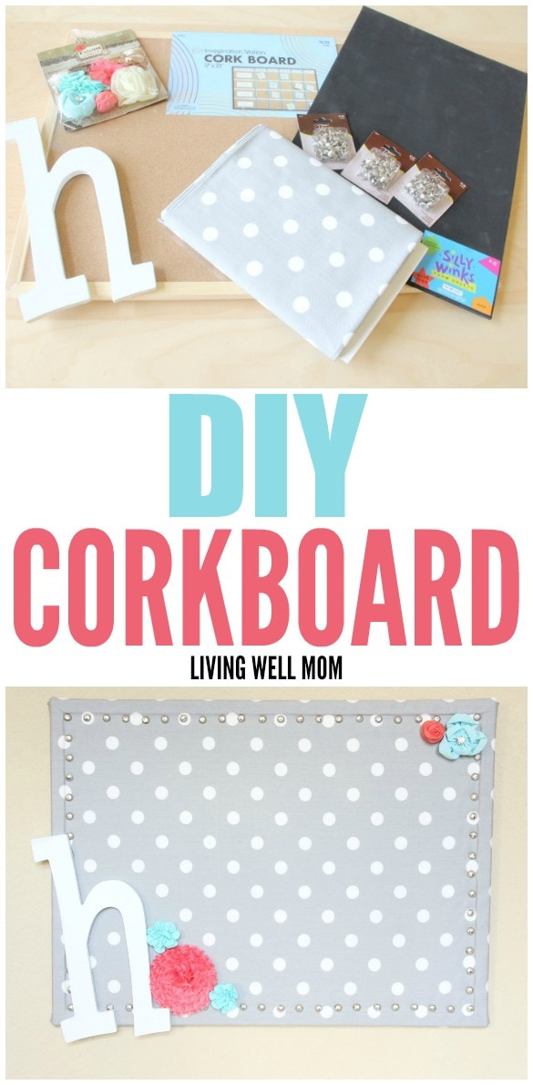 This simple DIY Cork Board is easy to make, inexpensive, and pretty too! Get easy step-by-step instructions here: