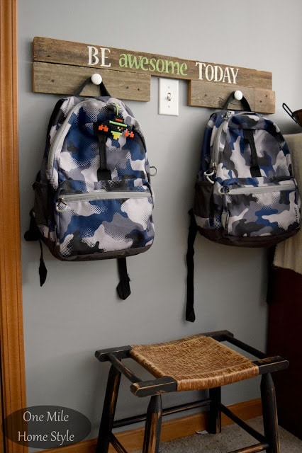 Reclaimed Wood Backpack Hanger   One Mile Home Style