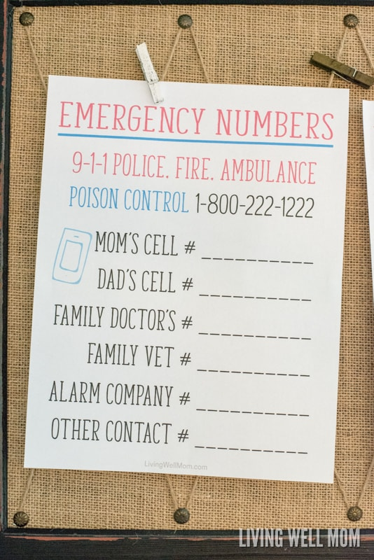 Is your family ready if an emergency happens? Get a FREE PRINTABLE Emergency Numbers List here, plus more printables and simple home safety ideas for family peace of mind.