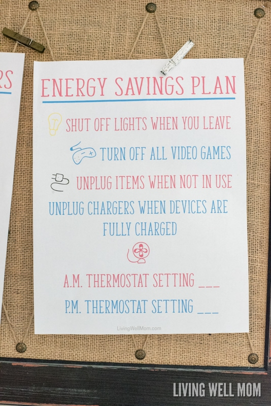 Are your kids wasting money leaving lights and electronics on? Here's a FREE PRINTABLE Energy Savings Plan that will help get the whole family on board with saving money & conserving energy! Plus more printables and simple home safety ideas for family peace of mind.
