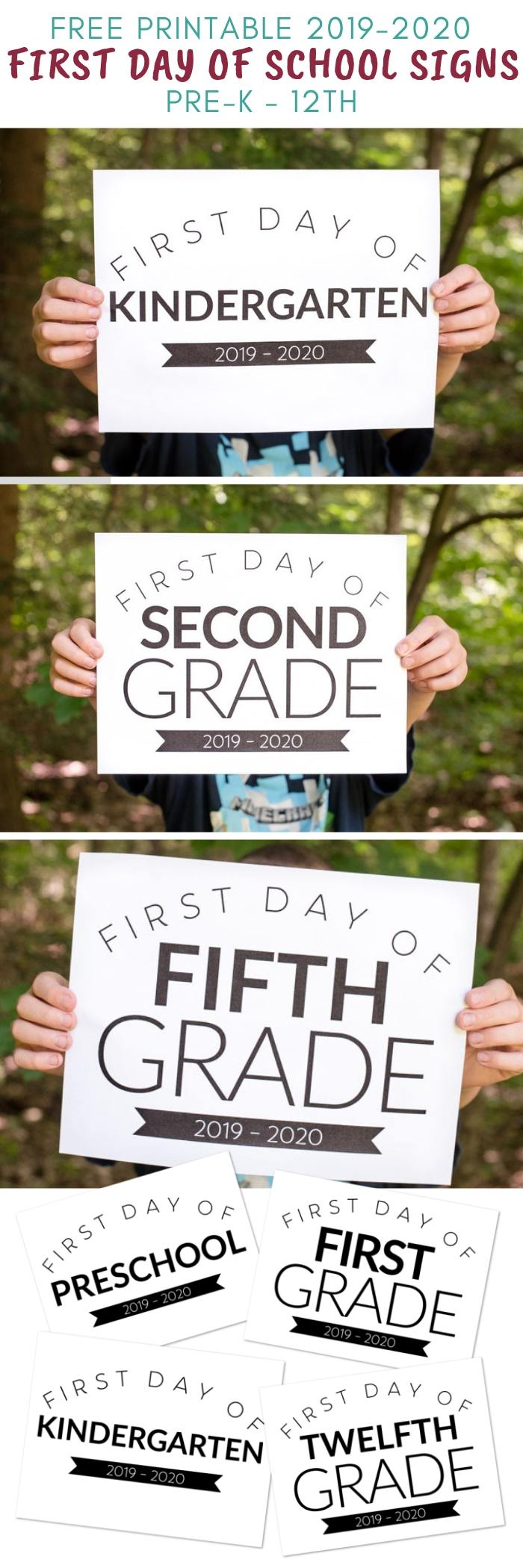 graphic about Printable First Day of School Signs titled Totally free Printable Initial Working day of College or university Indications for All Grades