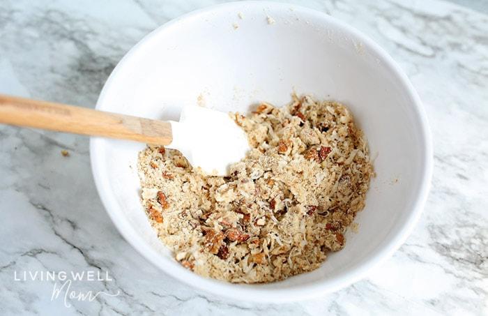 mixing crumb topping for grain free apple crisp