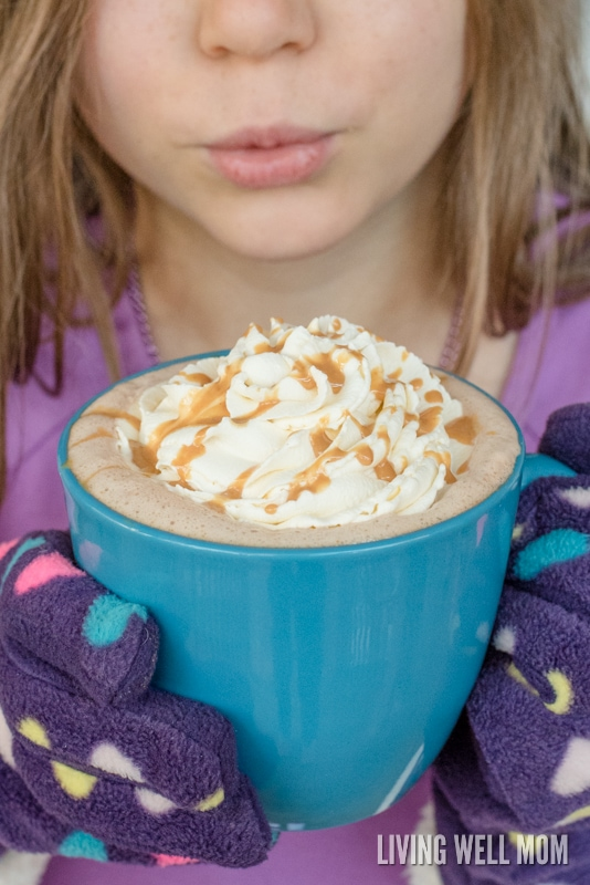 Kids love this Peanut Butter Hot Cocoa recipe and you'll love it too because it's quick & easy to make. Plus with no refined sugar, you can feel great about serving this tasty treat to your family!