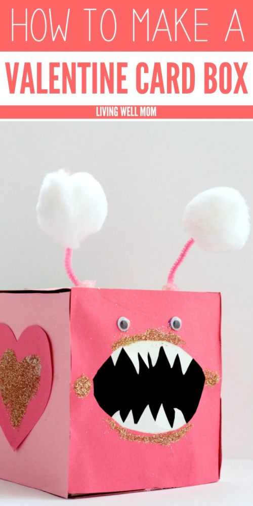 """This cute """"Love Bites"""" Valentine Card Box is a fun craft for kids AND a great place to store their Valentine's Day cards!"""