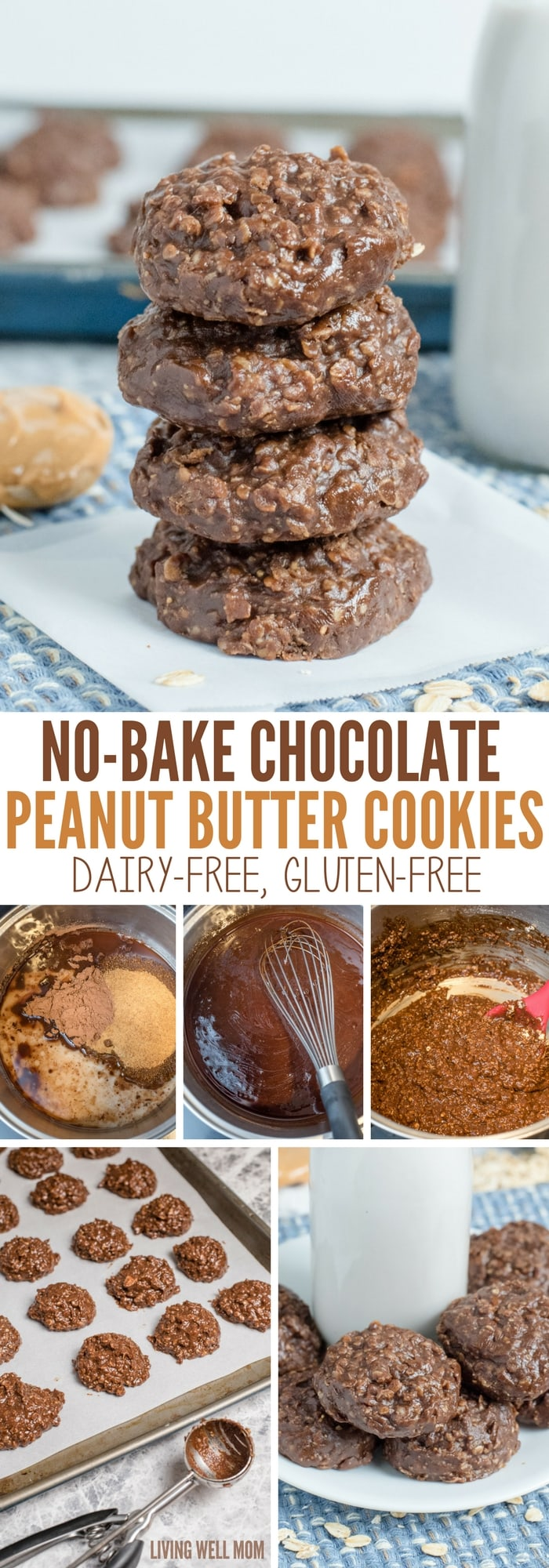 No-Bake Chocolate Peanut Butter Cookies require just 5 minutes of prep time. This easy dairy-free, gluten-free recipe is so delicious, kids and adults alike will gobble up these cookies!