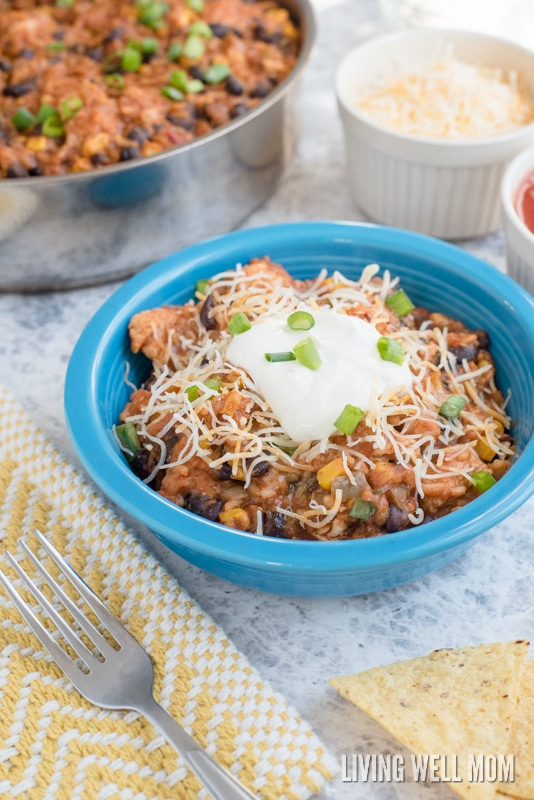 This hearty, gluten-free, one-pot dinner is ready in 30 minutes or less from start to finish and easy enough for Dad to make! Kids love this Mexican dinner too!