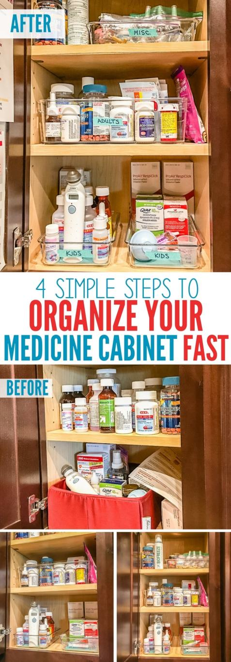 before and after how to organize your medicine cabinet quickly