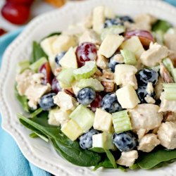 Dairy-Free Waldorf Chicken Salad recipe - loaded with fresh fruits (apples, blueberries, and grapes) chicken and with a simple dressing, this tasty salad is light and easy to make.