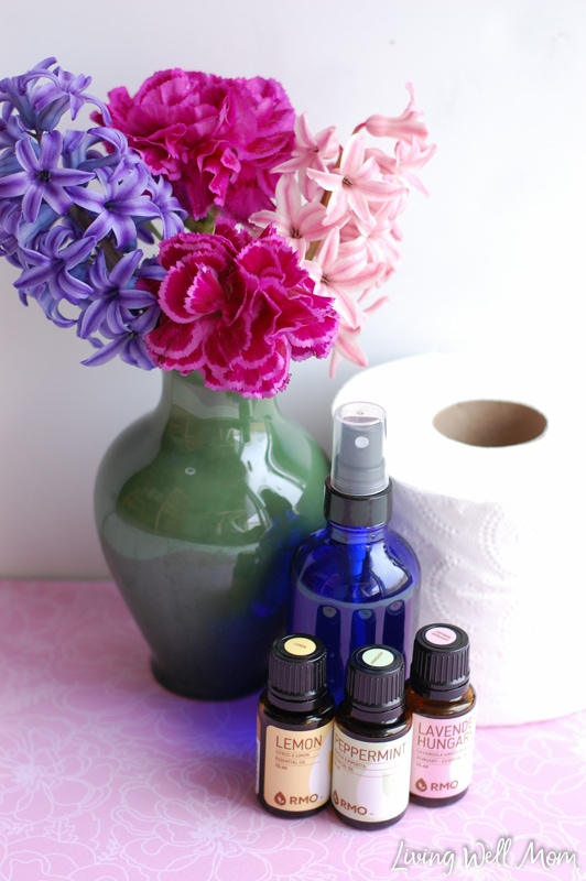"""""""Homemade """"Before-You-Go"""" spray - this 3-ingredient spray uses essential oils to naturally deodorize your bathroom before and after you """"go""""! """""""