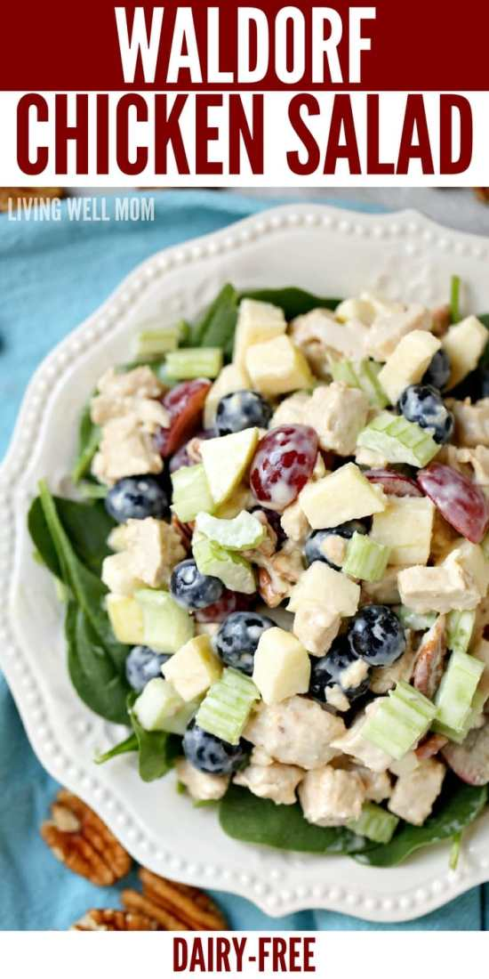 A tasty twist on regular chicken salad, this Waldorf Chicken Salad recipe is loaded with delicious fruit - apples, blueberries, grapes. The mayo, lemon juice, and honey dressing is light and dairy-free too!