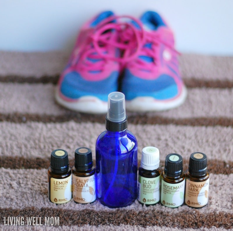 Got stinky shoes? Try this easy, all-natural DIY stinky shoe spray! With essentials oils and water, it's non-toxic and surprisingly effective!