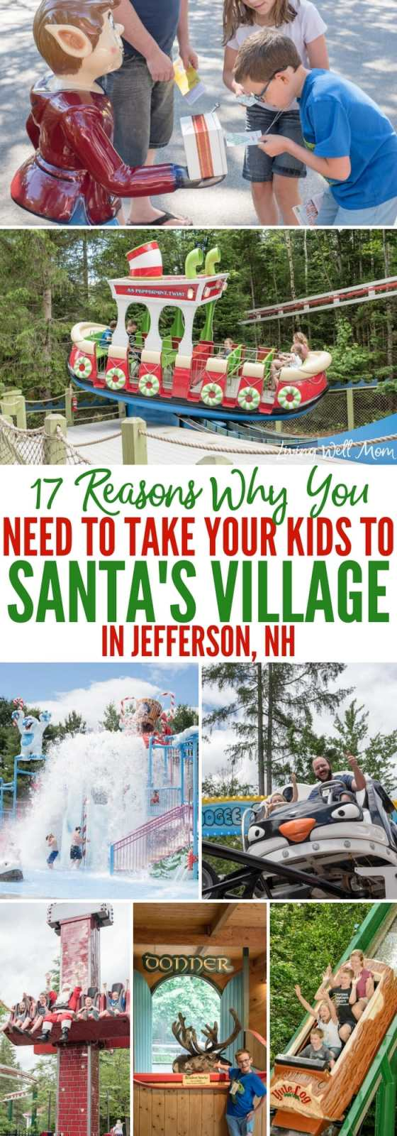 17 Reasons Why You Need to Take Your Family to Santa's Village in Jefferson, NH - from meeting Santa himself to feeding his reindeer, fun roller coasters and an awesome watermark, Santa's Village is an amazing family attraction the whole family will love!
