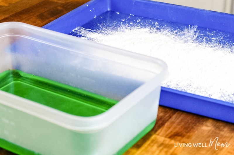 Green dye and cornstarch to make oobleck