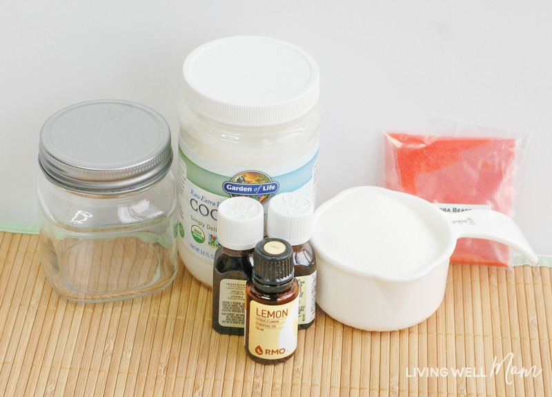 Ingredients for homemade citrus scrub