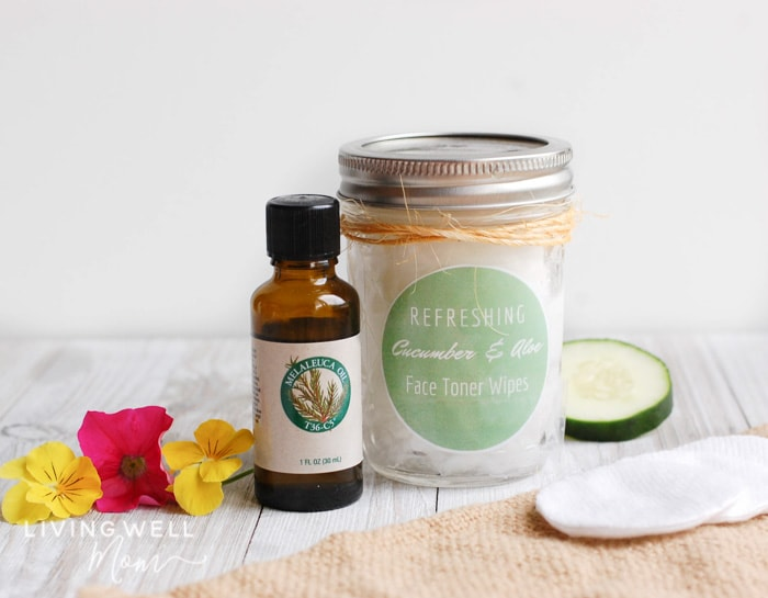cucumber homemade face toner wipes with tea tree oil