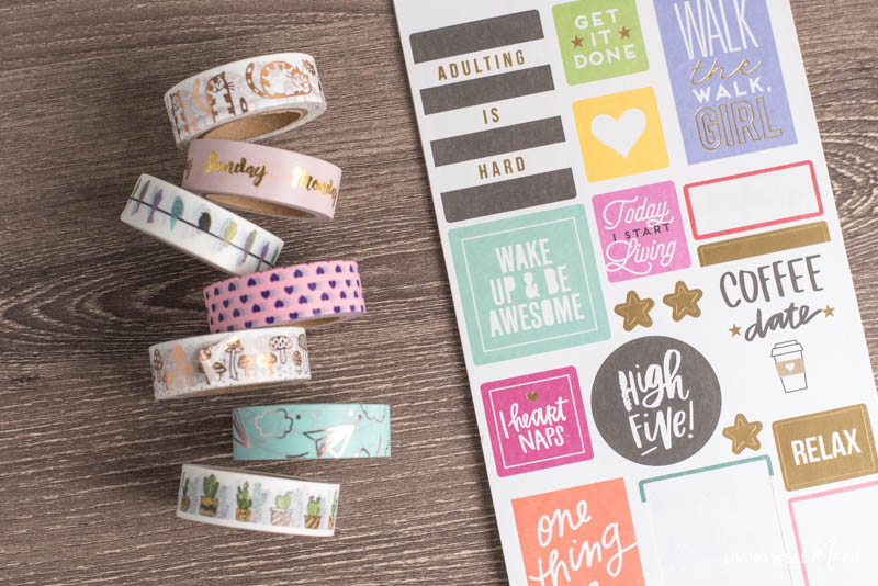 bullet journal washi tape and inspiration stickers