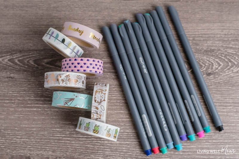 markers and washi tape for bullet journal