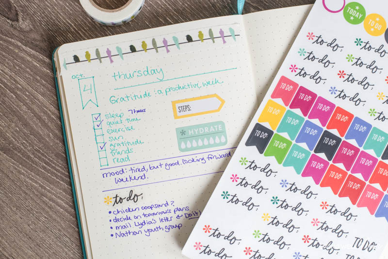 simple bullet journal page layout with to-do stickers