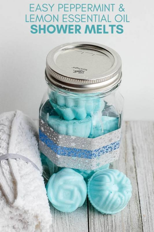 peppermint diy essential oil shower melts