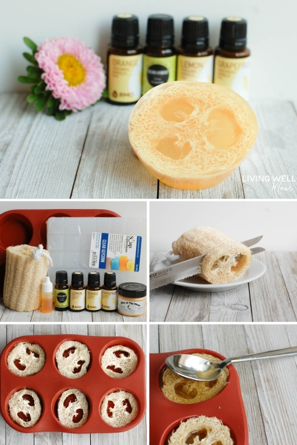 DIY melt and pour loofah soap with goat milk