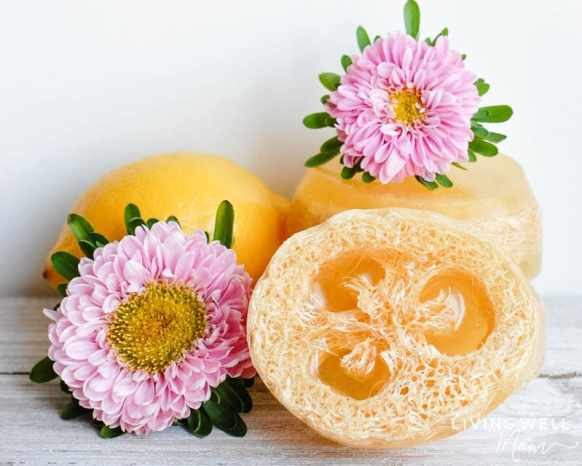 pretty homemade loofah soap bars with flowers