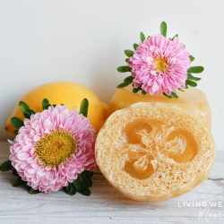 homemade loofah soap with pretty flower