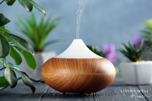 essential oil diffuser with plants for allergies