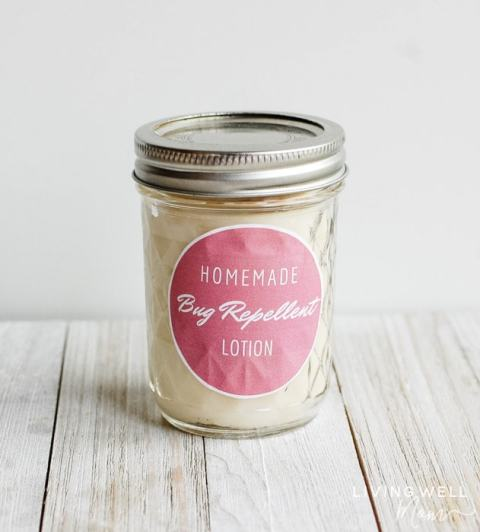 homemade mosquito repellent lotion in a jar