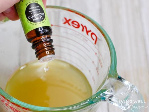 adding essential oils to homemade natural bug repellent
