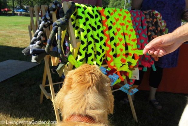 Chuck Billy choosing his Knots of Fun fleece toy this past summer. Holiday colors are now available online and in stores.