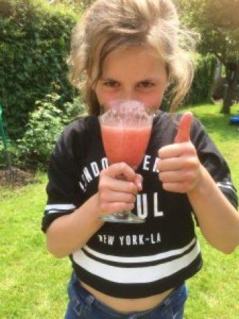 Smoothie drink in the garden