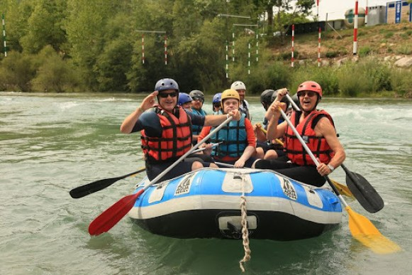 Group of people on a raft boat