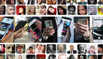 A community of faces in boxes with smartphones