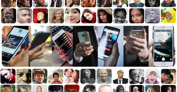 Images of faces and smartphones in boxes