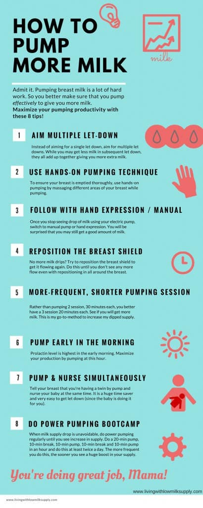 8 Tips for Pumping More Breast Milk. If you are looking for pumping tips to increase your milk production, this is for you! Click over to learn more pumping tips.