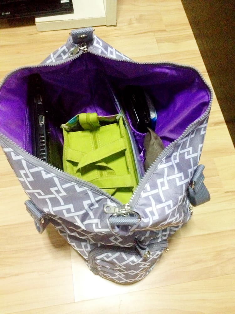 sarah well lizzy breast pump bag main compartment