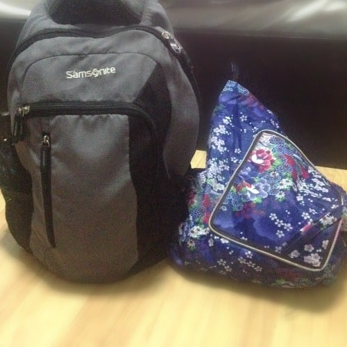 samsonite back pack and tote bag to