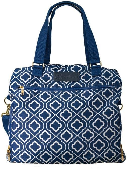 sarah wells lizzy breast pump bag navy