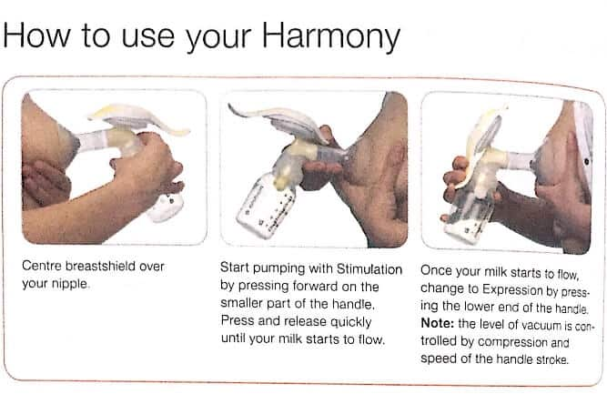 medela harmony breast pump how to use