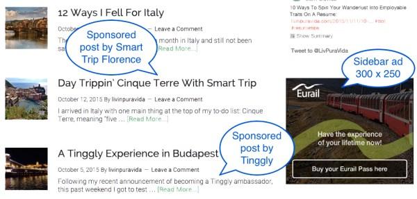 Livin' Pura Vida Travel Blog Ad Sample