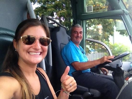 Riding shotgun on a bus in Greece