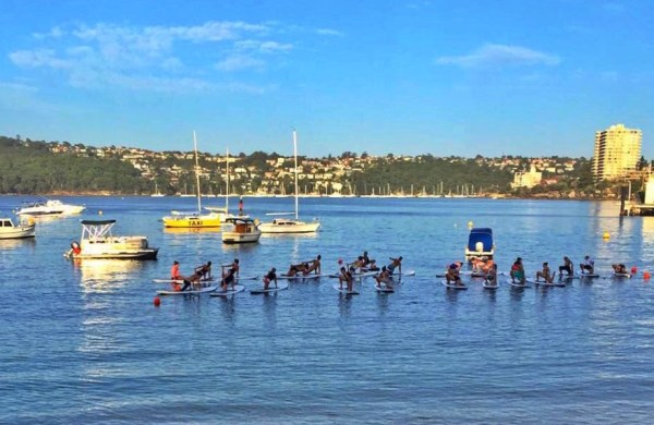 SUP yoga in the Manly Harbour with Lululemon