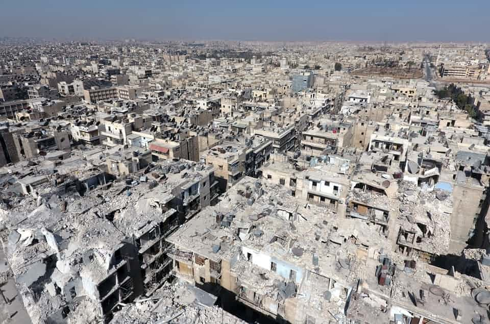 An aerial view of the buildings destroyed by the Assad regime forces and Russian army in the Tariq al-Bab neighbourhood.